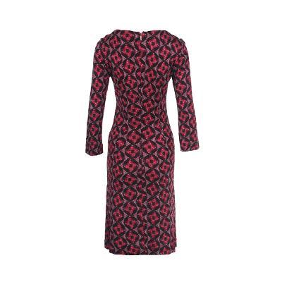 circle pattern waist shirring dress